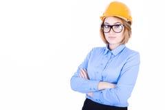 Молодой инженер с оранжевым шлемом Стоковое Фото
