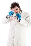 Молодой исследователь собирая молекулу tnt Стоковое фото RF