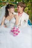 Молодой и красивый жених и невеста на стенде Стоковое Изображение RF