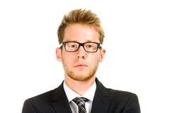 Молодой, красивый бизнесмен нося черный костюм Стоковые Фотографии RF