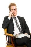 Молодой, красивый бизнесмен нося черный костюм Стоковые Фото