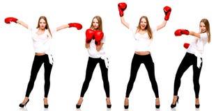 Молодой красивый бокс женщины моды на белом backgroun Стоковая Фотография