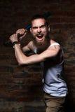 Молодой красивый бородатый человек битника в студии Стоковая Фотография RF