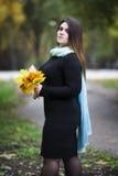 Молодой красивый кавказец плюс модель размера в черном платье outdoors, женщина xxl на природе, атмосфере осени стоковое изображение rf