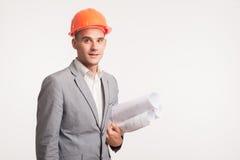 Молодой красивый представлять инженера архитектора Стоковое Изображение