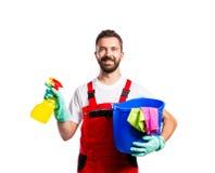 Молодой красивый уборщик стоковое изображение rf