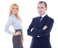 Молодой красивый человек и красивая белокурая женщина в деловых костюмах Стоковые Изображения RF