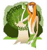 Молодой красивый Eve держа яблоко Стоковое Изображение RF