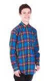 Молодой красивый smilling человек в рубашке изолированной на белизне Стоковые Изображения