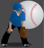 Молодой мальчик готовый к играть бейсбол иллюстрация штока