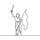 Молодой мальчик играя с шпагой и флагом Стоковое фото RF