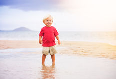 Молодой мальчик на пляже Стоковое Изображение