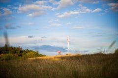 Молодой мальчик с американским флагом, утеха быть американцем Стоковые Изображения