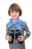 Молодой мальчик с бинокулярным Стоковое Изображение