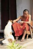 Молодой монах подавая бездомная собака Стоковые Фото