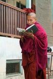 Молодой монах читая книгу на монастыре Mahagandayon на Мандалае, Стоковые Фото