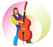 Молодой мужской музыкант играя баса бесплатная иллюстрация