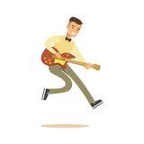 Молодой музыкант играя классическую иллюстрацию вектора гитары иллюстрация вектора