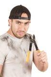 Молодой мышечный латинский рабочий-строитель Стоковые Фотографии RF