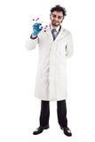 Молодой доктор усмехаясь с молекулой tnt Стоковые Фото