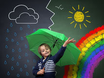 Молодой оптимист изменение в погоде Стоковое Изображение