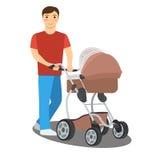 Молодой отец с детской сидячей коляской Стоковые Фотографии RF