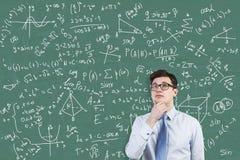 Молодой портрет гения математики стоковые фото
