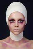 Молодой портрет женщины клоуна стоковые фотографии rf
