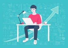 Молодой предприниматель работая на онлайн деле от дома на его таблице работающего на дому с и backgro стрелки нарисованными рукой бесплатная иллюстрация