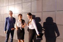 3 молодой привлекательный образованный молодой бизнесмен говоря, smili Стоковое Фото