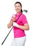 Молодой профессиональный игрок в гольф представляя на белизне Стоковая Фотография RF