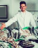 Молодой продавец предлагая свежих рыб Стоковая Фотография RF
