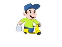 Молодой дружелюбный парень поставки с мотоциклом Стоковое Фото