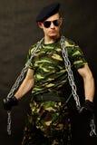 Молодой солдат с цепью Стоковое Изображение RF