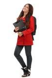Молодой студент готовый для школы изолированной на белизне стоковые фотографии rf