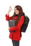 Молодой студент показывая одобренный знак Стоковые Фото