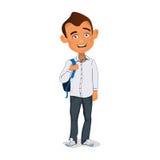 Молодой студент усмехаясь и стоя с рюкзаком Стоковое Изображение