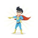 Молодой супергерой показывая палец иллюстрация штока
