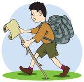 Молодой турист идет на тропу Стоковые Изображения