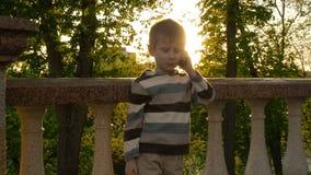 Молодой усмехаясь мальчик говоря на мобильном телефоне видеоматериал