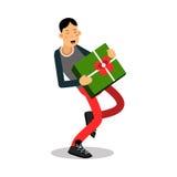 Молодой усмехаясь человек нося тяжелую зеленую иллюстрацию вектора персонажа из мультфильма подарочной коробки иллюстрация вектора