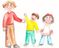 Молодой учитель с усмехаясь детьми Стоковые Изображения RF