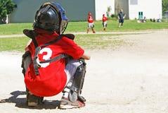 Молодой улавливатель бейсбола Стоковые Фото
