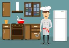Молодой человек варя в кухне дома иллюстрация вектора
