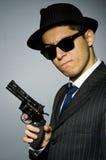 Молодой человек в классике striped костюм и шляпа Стоковые Фото