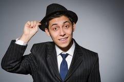 Молодой человек в классике striped костюм и шляпа Стоковые Изображения RF