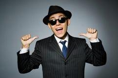 Молодой человек в классике striped костюм и шляпа Стоковое Изображение