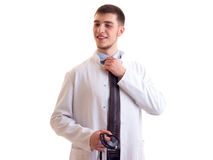 Молодой человек в мантии доктора Стоковое фото RF