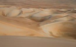 Молодой человек идя в песчанные дюны пустыни Liwa стоковое изображение rf