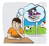Молодой человек мечтая получать образование Стоковое фото RF